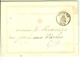 Carte Correspondance AS CàD Anvers 1873  à L. Keusters De Mme Hespel - Boom