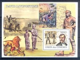 M59- Comores Comoros Komoren 2008. Animals. Lion. Gun. David Livingstone. - Stamps