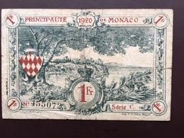 MONACO P5 1 FRANC 16.3.1920 VF - Monaco