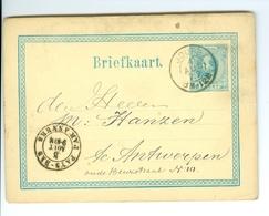 Briefkaart Nederland AS CàD Pays-Bas Par Anvers & Joupe 1877 à M. Hanzen Antwerpen Entier Postal Postwaardestuk - Entiers Postaux