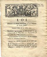 1791 REVOLUTION POLICE MUNICIPALE LA PAIX DANS LES VILLES ET LES CAMPAGNES ET ETAT DES HABITANTS !!! - Decrees & Laws
