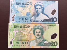 NEW ZELANDE P186 10 DOLLARS 1999+ P187 20 DOLLARS 2004  UNC POLY - Nouvelle-Zélande