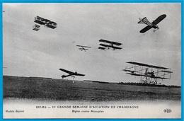 CPA 51 REIMS - IIe GRANDE SEMAINE D' AVIATION De CHAMPAGNE (1910) Biplan Contre Monoplan - Reuniones