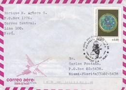 AIRMAIL ENVELOPE CIRCULEE 1996 PERU TO USA. MIXED STAMPS, AUTRES MARQUES- BLEUP - Perú