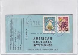 AMERICAN CULTURAL INTERCHANGE. ENVELOPE CIRCULEE 1964 BOLIVIA TO USA- BLEUP - Dominicaanse Republiek