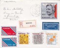 ENVELOPE CIRCULEE 1973 SURINAME TO NEDERLAND. RECOMMANDE PAR AVION MIXED STAMPS- BLEUP - Surinam
