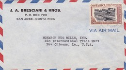 BRESCIANI & HNOS. AIRMAIL ENVELOPE CIRCULEE 1950 COSTA RICA TO USA- BLEUP - Costa Rica