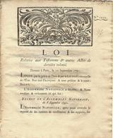 1791 RÉVOLUTION TESTAMENTS ET DERNIERES VOLONTES PROTECTION DES PERSONNES NECESSITE DE TEMOINS - Decrees & Laws