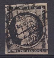JOLI TIMBRE CERES N° 3 OBLITÉRÉ SANS DÉFAUT Avec BELLE OBLITERATION GRILLE (SIGNATURE) - 1849-1850 Ceres