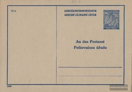 Bohemia And Moravia AV1a Adressenvormerkschein Unused 1940 Linden Branch - Autres