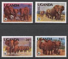 Uganda 1983 Mi# 361-64A** AFRICAN ELEPHANTS - Ouganda (1962-...)