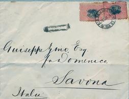 1884 , BRASIL  , SOBRE CIRCULADO , RIO DE JANEIRO A SAVONA ( ITALIA ) , LLEGADA - Brasil