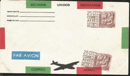 J) 1947 MEXICO, ERROR FROM IMPRESSION, MICHOACAN, POPULAR ART, MASKS, AIRPLANE, POSTAL STATIONARY - Mexico