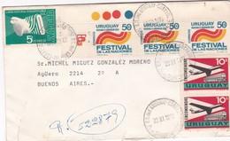 ENVELOPE CIRCULEE CIRCA 1973 URUGUAY TO ARGENTINE, MIXED STAMPS A PAIR, AVEC BORD DU PLAQUE- BLEUP - Uruguay