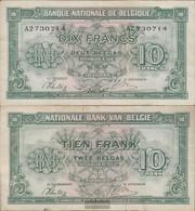 Belgien Pick-Nr: 122 Gebraucht (III) 1943 10 Francs - Ohne Zuordnung