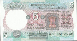 India Pick-number: 80m Uncirculated 1985 5 Rupees - India