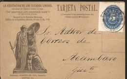 J) 1890 MEXICO, NUMERAL, 5 CENTS BLUE, CIRCULATED COVER, FROM MEXICO TO ACAMBARO, POSTCARD - Mexico