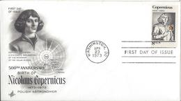 USA - 1973 - FDC - 500TH ANNIVERSARY OF NICOLAUS COPERNICUS ......... WNV - Astronomy