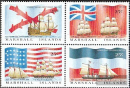 Marshall-Islands 185-188 Block Of Four (complete Issue) Unmounted Mint / Never Hinged 1988 Entdeckungsschiffe And Flags - Marshall Islands