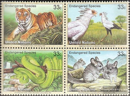 UN - New York 815-818 Block Of Four (complete Issue) Unmounted Mint / Never Hinged 1999 Affected Animals - New York – UN Headquarters