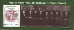 Litauen Block 12 (completa Edizione) MNH 1998 L'indipendenza - Lithuania