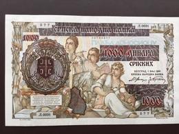 SERBIA P24 1000 DINAR 1941 UNC - Serbien