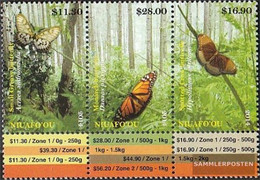 Niuafo Ou - Island 554-556 Triple Strip (complete Issue) Unmounted Mint / Never Hinged 2014 Butterflies - Niue