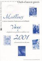 """"""" MEILLEURS VOEUX 2001 : CHEFS-D'OEUVRE GRAVES / PEYNET / BOTTICELLI ...."""" Sur Document Officiel De 2000 (sans Timbre). - Documentos Del Correo"""