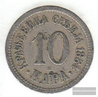 Serbia Km-number. : 19 1884 Very Fine Copper-Nickel Very Fine 1884 10 Para Double Eagle - Serbia