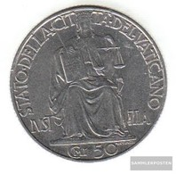 Vatikanstadt Km-number. : 34 1942 Stgl./unzirkuliert Steel 1942 50 Centesimi Justicia - Vatican