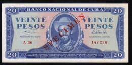 Caribe  / 20 PESOS 1964 SPECIMEN ( MUESTRA ) Serie A-86 147226 UNC - Cuba