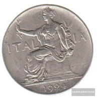 Italy Km-number. : 62 1924 Extremely Fine Nickel Extremely Fine 1924 1 Lira Sedentary Woman - 1861-1946 : Kingdom
