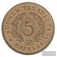 Finland Km-number. : 31 1941 Extremely Fine Aluminum-Bronze Extremely Fine 1941 5 Markkaa Crest - Finland