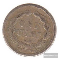 U.S. Km-number. : 87 1859 Fine Copper-Nickel Fine 1859 1 Cent Indian Head - Federal Issues
