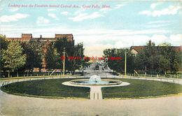 281409-Montana, Great Falls, Central Avenue Past The Water Fountain, Charles E Morris - Great Falls