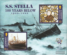 United Kingdom - Alderney Block5 (complete Issue) Unmounted Mint / Never Hinged 1999 Wreck Of Steamer Stella - Alderney