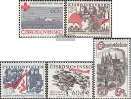 Tschechoslowakei 1481,1483-1484,1485,1486 (kompl.Ausg.) Postfrisch 1964 Rotes Kreuz, Aufstand, Dukla, Prag - Tschechoslowakei/CSSR