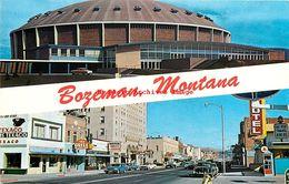 281543-Montana, Bozeman, University Field House & Main Street View, Ellis Post Card By Koppel No 104897 - Bozeman