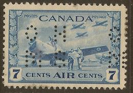 CANADA 1942 7c OHMS Perfin SG O152 HM #IL44 - Officials
