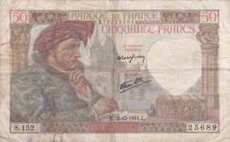 France - Billet De 50 Francs Type Jacques Coeur - 18 Décembre 1941 - 1871-1952 Antichi Franchi Circolanti Nel XX Secolo