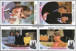 Tuvalu-Nui 76-79 Couples (complete.issue.) Unmounted Mint / Never Hinged 1986 Prince Andrew + Sarah Ferguson - Tuvalu