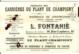 94 CARTE PUBLICITAIRE **Carrières Du Plant De Champigny** (12x8 Cm) - Non Classés