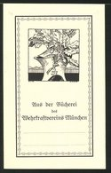 Exlibris Von Anton Bischof Für Wehrkraftverein München, Ritterhelm Und Eichenlaub - Bookplates