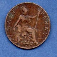 Grande Bretagne  -  1/2 Penny 1906  -  Km # 793.2  -  état  TTB - 1902-1971 : Post-Victorian Coins