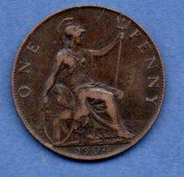 Grande Bretagne  -  1 Penny 1904  -  Km # 794.2  -  état  TTB - 1902-1971 : Post-Victorian Coins
