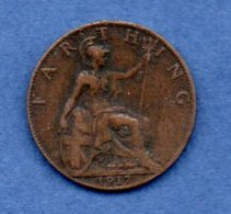 Grande Bretagne  -  1 Farthing 1917  -  Km # 808.1  -  état  TTB - 1902-1971 : Post-Victorian Coins