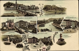 Lithographie Saarbrücken Im Saarland, Stadtansichten, Spichernberg, Neue Brücke, Reichsstraße - Other