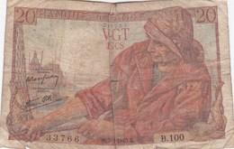 France - Billet De 20 Francs Type Pêcheur - 7 Octobre 1943 - 1871-1952 Anciens Francs Circulés Au XXème