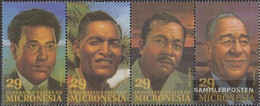 Mikronesien 298-301 Quad Strip (complete Issue) Unmounted Mint / Never Hinged 1993 Personalities - Micronesia