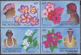 Mikronesien 123-126 Block Of Four (complete Issue) Unmounted Mint / Never Hinged 1989 Flowers And Flowersschmuck - Micronesia